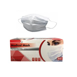 Medical Beyaz Ultrasonic Telli Bez Maske 50 li Pkt